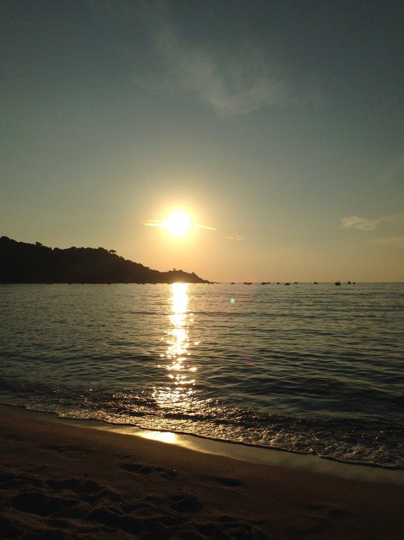 coucher de soleil plage d'orcino